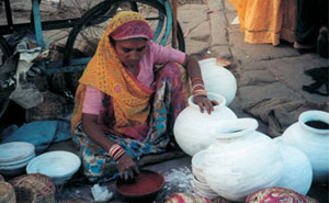 A woman selling pots in Rajastan