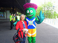 Aline with Clyde the Mascot