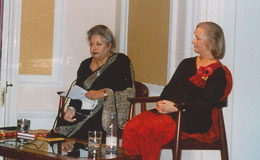 Aline sitting with the chairperson - the Baroness Flather of Windsor and Maidenhead at the Nehru Centre